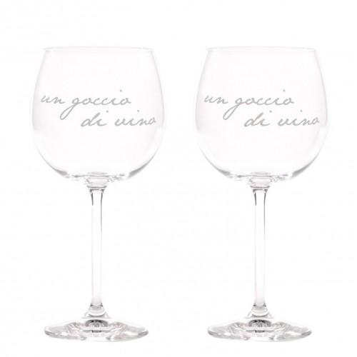 """2 calici vino decoro serigrafato bianco """"un goccio di vino"""" Simple Day"""