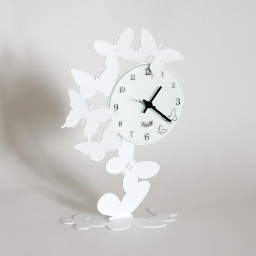ARTI & MESTIERI, orologio Butterfly da tavolo bianco