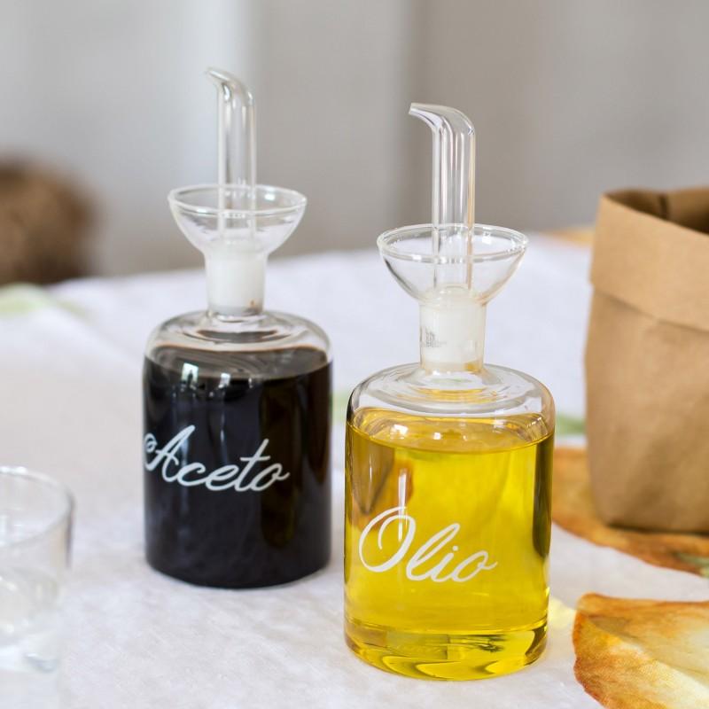 oliera e acetiera salvagoccia in vetro, set due pz da 250 ml, SIMPLE DAY