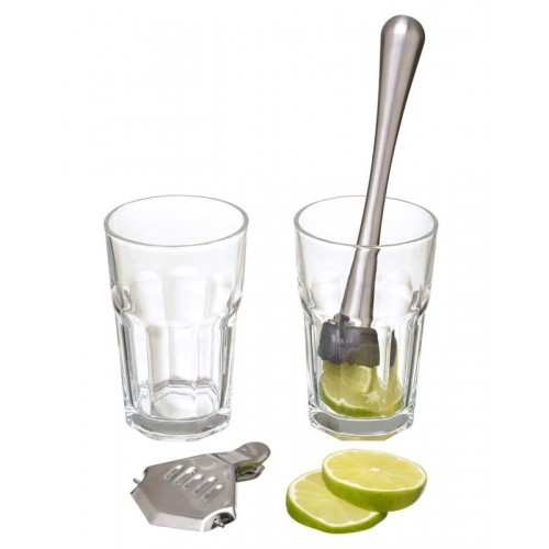 SET COCKTAIL 4 pz, 2 bicchieri, pestello, spremi limone