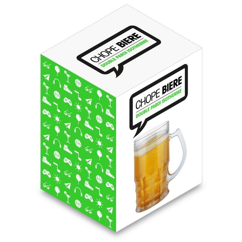 boccale birra, doppia parete con liquido refrigerante
