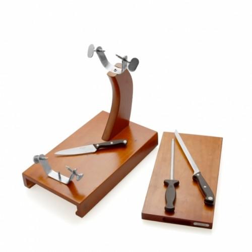 porta prosciutto con cassetto con due coltelli e arrotino