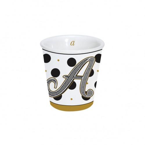 "Bicchierino caffè ""Lettere"" in porcellana 100ml in scatola"