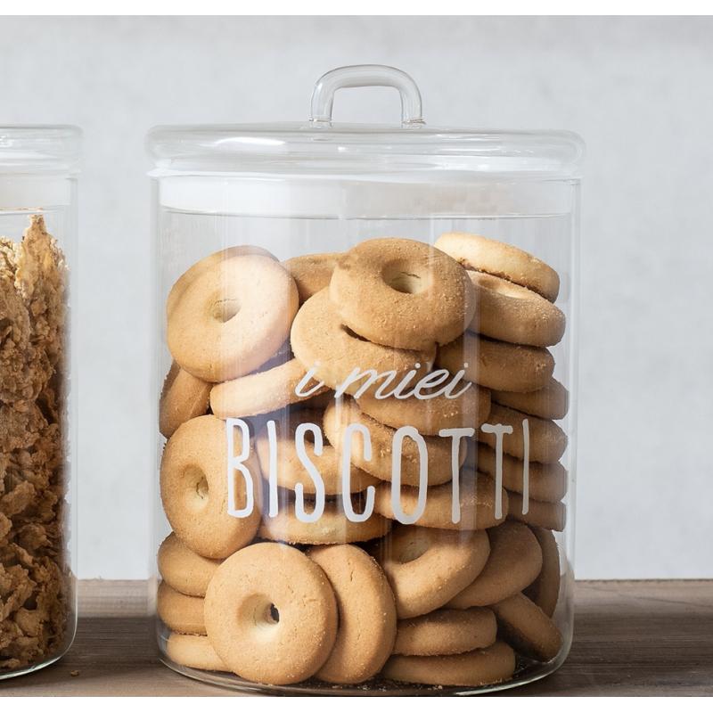 """biscottiera in vetro chiusura ermetica, """"un biscotto tira l'altro"""" Simple Day"""
