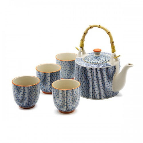 SET TEIERA E 4 TAZZINE in ceramica decorata in rilievo