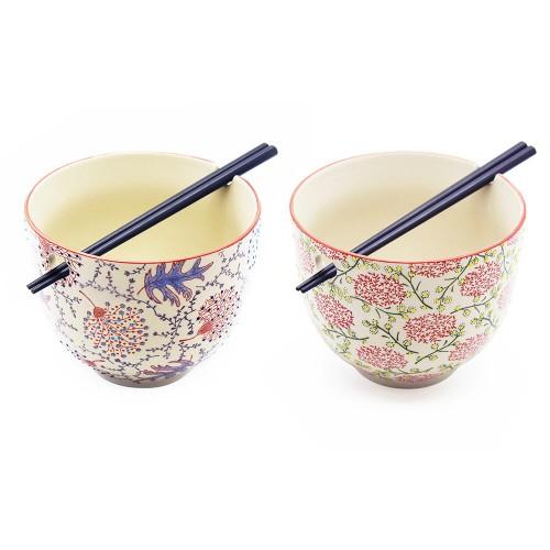 SET 2 CIOTOLE RAMEN con due coppie bacchette bambù